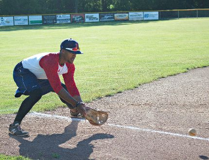 Brantford Red Sox infielder Benjamin Bostick fields ground balls at third base this week during pre-game practice at Arnold Anderson Stadium. (Chris Hussey/The Expositor)