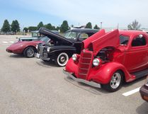 Vintage cars on display at the 22 Wing Auto Club car show.