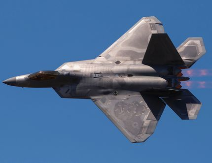 An F-22 Raptor fires its afterburners during a fast-paced demonstration flight Saturday afternoon at the Quinte International Air Show.