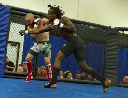<p>Shawn Lalonde of Apeiron MMA in Cornwall avoids a punch from Sammy Debalke of Tristar, in the main event at Wreck MMA Cornwall, held at Nav Centre on Saturday. Debalke won the fight in the first round.</p><p>Robert Lefebvre/Special to the Cornwall Standard-Freeholder/Postmedia Network