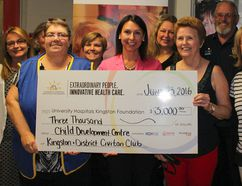 <p>Shannon Coull (front, second from left), associate director of University Hospitals Kingston Foundation, accepted a donation of $3,000 to Hotel Dieu Hospitals's Child Care Development Centre from the Kingston & District Civitan Club, represented by Linda Mortlock (front, left) and Edie Emmons (front, second from right) at Hotel Dieu Hospital in Kingston Ont. on Thursday June 23, 2016. Jane Willsie for The Whig-Standard/Postmedia Network