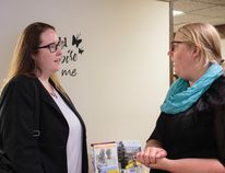 Labour Minister Christina Gray, left, makes a special stop at HALS on June 21 to learn about programs available at the facility. (Dayla Lahring/ Hinton Parklander)