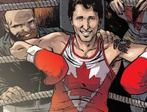 The variant cover of the comic Civil War II: Choosing Sides #5, featuring Prime Minister Justin Trudeau surrounded by the members of Alpha Flight: Sasquatch, top, Puck, bottom left, Aurora, right, and Iron Man in the background is shown in a handout photo. (THE CANADIAN PRESS/HO - Ramon Perez)