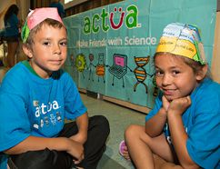 Seven-year-old Ehren General and Kiara Martin, 5, show the brain hats they made on Tuesday at a STEM (science, technology, engineering and mathematics) camp for youth on the Six Nations and New Credit reserves. (Brian Thompson/The Expositor)
