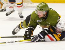 Dave Dale/The Nugget File Photo North Bay Battalion defenceman Mark Shoemaker (25) was picked by the San Jose Sharks in the sixth round, 180th overall, in the 2016 NHL Draft Saturday despite being a late-round OHL selection.