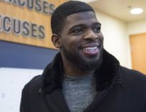 Montreal Canadiens defenceman P.K. Subban walks away after taking with reporters at the team training facility Monday, April 11, 2016 in Brossard, Que. (THE CANADIAN PRESS/Paul Chiasson)