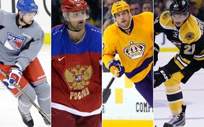From left to right, Eric Staal, Alexander Radulov, Milan Lucic and Loui Eriksson all signed free agent contracts on July 1, 2016. (AP/AFP/Files)