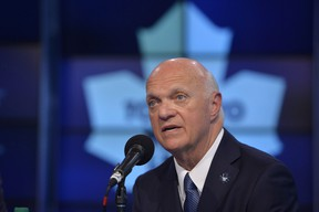 Maple Leafs GM Lou Lamoriello is happy with what he's been able to accomplish in the off-season, even if a defenceman hasn't been added to the roster. (THE CANADIAN PRESS/Galit Rodan)