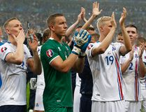 Iceland's players applaud supporters at the end of their Euro 2016 quarterfinal against France at the Stade de France in Saint-Denis, north of Paris, France, Sunday, July 3, 2016. (AP Photo/Thibault Camus)
