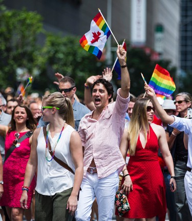 Canada's Prime Minister Justin Trudeau at Toronto's Pride parade held in downtown Toronto, Ont.   on Sunday July 3, 2016. Ernest Doroszuk/Toronto Sun/Postmedia Network
