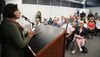 Saleha Khan of London talked about Islamaphobia in London, Ont. on Monday July 4, 2016 during the National Council of Canadian Muslims press conference to endorse the Charter for Inclusive Communities. (MIKE HENSEN, The London Free Press)