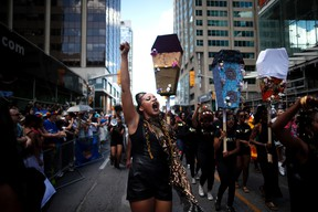 Members of Black Lives Matter Toronto take part in the annual Pride Parade. (THE CANADIAN PRESS)