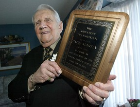The greatest Transconian has died.  Paul Martin, a Second World War veteran who would later become Transcona's mayor before the community merged with Winnipeg, passed away Monday. He was 96.