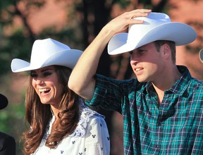 The Duke and Duchess of Cambridge, Prince William and Catherine are all smiles with cowboy hats at the Calgary Stampede at the BMO Centre in Calgary, Alberta on  July 7 2011.  The newlywed royal couple are touring parts of Canada on their first official visit abroad and are spending a total of 9 days in Canada. (ANDRE FORGET/QMI AGENCY)