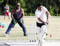 Batter Krishna Challagulla hits the ball during Big Nickel Cricket Club practice in Capreol, Ont. on Thursday July 7, 2016. The club is holding matches at it's field in Capreol this weekend.Gino Donato/Sudbury Star/Postmedia Network