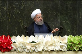 In this May 28, 2016 file photo, Iranian President Hassan Rouhani speaks during the inauguration of the new parliament, in Tehran, Iran. (AP Photo/Ebrahim Noroozi, File)