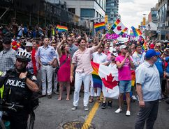 Canadian Prime Minister Justin Trudeau participates at the annual Pride Festival parade, July 3, 2016 in Toronto. Getty Images