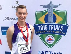Lee Kucera of Chatham won a silver medal in junior men's javelin at the Canadian track and field championships July 9, 2016, in Edmonton. (Contributed Photo)