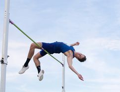 Derek Drouin makes his jump during the senior men's semifinal at the Canadian Track and Field Championships and Selection Trials for the 2016 Summer Olympic and Paralympic Games, in Edmonton, Alta., on Saturday, July 9, 2016. (THE CANADIAN PRESS/Jason Franson)