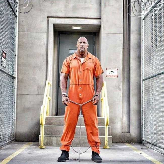 """In a new set photo posted on Instagram, Dwayne Johnson's Agent Hobbs is seen in jail in """"Fast & Furious 8."""""""