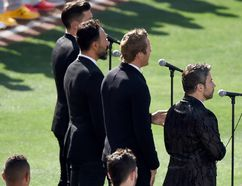The Tenors, musicians based in British Columbia, perform 'O Canada' prior to the 87th Annual MLB All-Star Game at PETCO Park in San Diego on July 12, 2016. (Photo by Denis Poroy/Getty Images)