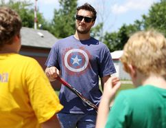 Fort Wayne Komets captain Jamie Schaafsma of Blenheim speaks to campers at the Chatham-Kent Children's Safety Village on Wednesday. (MARK MALONE/The Daily News)