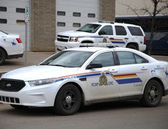 A Wood Buffalo RCMP cruiser parked out front of the Greyhound bus station on Manning Ave. downtown Fort McMurray, April 25, 2016. Olivia Condon/ Fort McMurray Today/ Postmedia Network