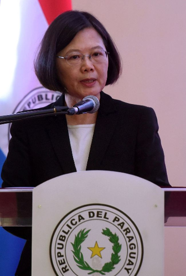 Taiwan's President Tsai Ing-wen delivers a speech during her visit to the General Andres Rodriguez school to which the country donated computers, in Asuncion on June 29, 2016. (AFP PHOTO / NORBERTO DUARTENORBERTO DUARTE/AFP/Getty Images)