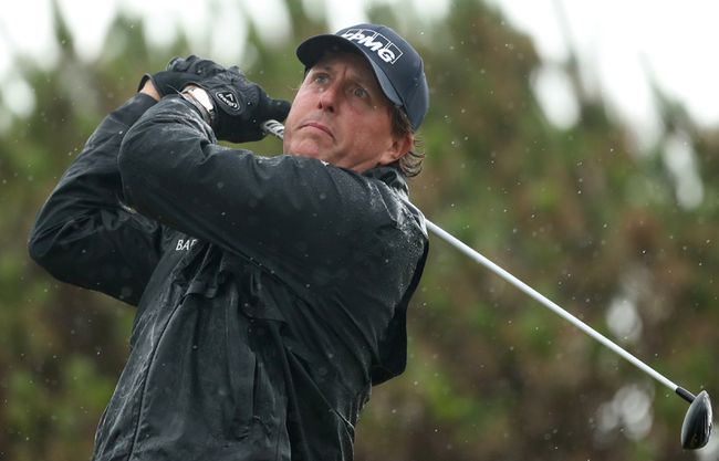 Phil Mickelson plays his tee shot at the 13th during the second round of the British Open at the Royal Troon Golf Club in Troon, Scotland, Friday, July 15, 2016. (AP Photo/Peter Morrison)