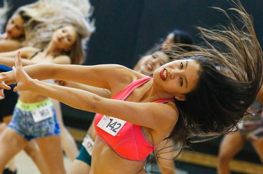 Female dancers came from all over the GTA. to show there poise and dancing skills during an audition at the ACC for the Raptors Dance Pak. on Saturday July 16, 2016. Dave Thomas/Toronto Sun/Postmedia Network