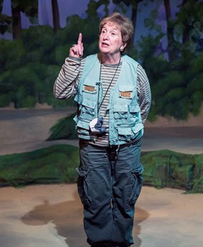 Lorna Wilson makes a point in the Port Stanley Festival Theatre production, Birds of a Feather, a gentle comedy by PSFT artistic director Simon Joynes currently on stage.