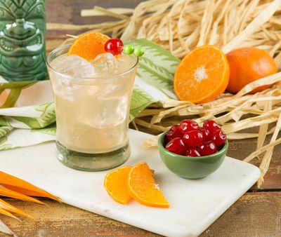 <B>TANGERINE CHAMOMILE COOLER</b><BR>This versatile cocktail is perfect for a tropical themed luncheon or backyard BBQ.<BR><BR><B>Ingredients:</b><BR> 1/2 cup (125mL) lemonade blended with a splash of tangerine<BR> 1 1/2 oz. (45mL) vodka<BR> 1/2 oz. (15mL) Amaretto liqueur<BR> Splash triple sec liqueur<BR> 2 Tbsp. (30mL) chilled chamomile tea<BR> 2 tsp. (10 mL) freshly grated tangerine zest<BR> Splash of grenadine syrup (optional)<BR> 1 tangerine wedge<BR> 1 maraschino cherry<BR> Ice cubes<BR><BR><B>Method:</b><BR>In cocktail shaker, combine lemonade/tangerine juice, vodka, amaretto, triple sec, tea and tangerine zest. Add ice; shake well. Pour over ice cubes in tall glasses; add splash of grenadine (if using). Garnish with tangerine wedge and cherry. Serves 1.<BR><B>TIP:</b> To Tiki-fy this recipe, replace chilled chamomile tea with 1 tsp. (5mL) almond syrup.