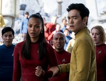 "Zoe Saldana, left, as Uhura and John Cho as Sulu appear in a scene from, ""Star Trek Beyond."""