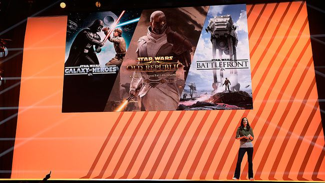Jade Raymond, vice president, GM Motive Studios/Visceral Games speaks during Electronics Arts news conference on June 12, 2016 in Los Angeles. (Photo by Kevork Djansezian/Getty Images)