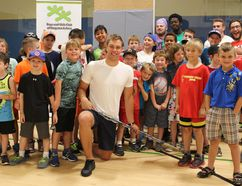 Taylor Hall (centre) stopped by the Boys and Girls Club in Kingston on July 18, 2016 to meet some of his young fans and promote the Taylor Hall Charity Ball Hockey Tournament taking place on Saturday July 23. (Jane Willsie/For The Whig-Standard)