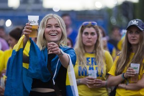 A Sweden fan smiles with a beer as she watches the Euro 2016 group E football match between Sweden and Belgium June 22, 2016. (AFP PHOTO / GEOFFROY VAN DER HASSELT)