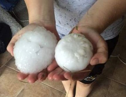 Baseball-sized hail was photographed north of Manitou,Man., July 19. (Michelle Sanders/Facebook)