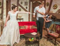 Cydney Penner (left), Adrian Shepherd, and Mairi Babb perform a scene from the comedy Perfect Wedding, which runs at Lighthouse Theatre in Port Dover, until Aug. 6. (Lighthouse Theatre photo)