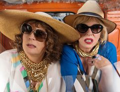 """Jennifer Saunders as """"Edina"""" and Joanna Lumley as """"Patsy"""" in the film Absolutely Fabulous: The Movie."""