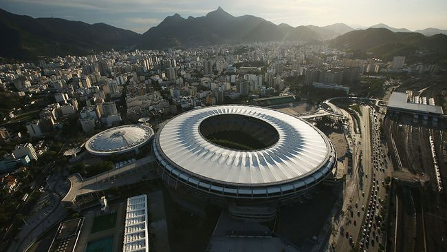 Maracana Stadium is seen in an aerial view on Feb. 24, 2015 in Rio de Janeiro, Brazil.  It is the venue for the opening and closing ceremonies of the 2016 Olympics. (Photo by Mario Tama/Getty Images)