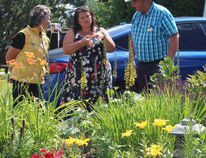(Left to right) Sherry Cote, with the Town of Bruderheim, accompanied national Community in Bloom judges Karri Loadman, from Kamloops, B.C. and Roger Younker, from Charlottetown, P.E.I., on July 18 to view Bruderheim's sights and gardens. (Lindsay Morey/Record Staff)