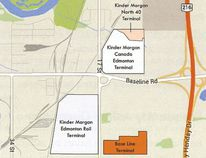 The construction of a new pipeline by Kinder Morgan, with a terminal in Strathcona County, is seeing extra work done to plant trees in areas where natural habitats are disturbed. Graphic Supplied