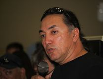 Long Plain First Nations Chief Dennis Meeches announces the band decision to declare the reserve to be in a state of emergency. At least 47 houses have been severly damaged and at least 200 people have been evacuated from the reserve, many being housed in Winnipeg at the Holiday Inn. (Brian Oliver/The Graphic/Postmedia Network)