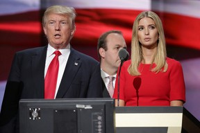 Republican presidential candidate Donald Trump and his daughter Ivanka Trump test the teleprompters and microphones on stage before the start of the fourth day of the Republican National Convention on July 21, 2016 at the Quicken Loans Arena in Cleveland, Ohio. Ivanka will introduce her father before he gives his acceptance speech tonight, the final night of the convention.  (Photo by Chip Somodevilla/Getty Images)
