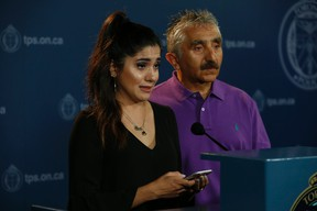 Aluen Navarro-Fenoy (L) and her dad Victor Navarro - make a plea through the media at Toronto Police HQ for those to come forward with info related to her sister's death -  Ariela Navarro-Fenoy, 26 - was gunned after down fleeing from Drake's apres OVO Fest party at Muzik nightclub and on Tuesday, August 4, 2015 on Friday July 22, 2016. Jack Boland/Toronto Sun/Postmedia Network