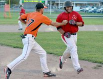 Champoux Homes/Wacky Wings Orioles pitcher Marc-André Lavoie, left, narrowly outduelled Lessard-Stephens Red Sox hurlers Eryk Rice, right, and Ian Ballantyne as the Orioles took a 3-1 victory in the second game of a Timmins Men's Baseball League (TMBL) doubleheader on Thursday. TOM PERRY/THE DAILY PRESS FILE PHOTO