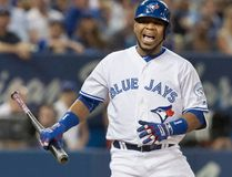 Toronto Blue Jays' Edwin Encarnacion reacts to a called strike from Seattle Mariners starting pitcher James Paxton during the sixth inning of a game at Rogers Centre in Toronto on July 22, 2016. (THE CANADIAN PRESS/Fred Thornhill)