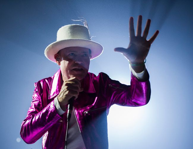 The Tragically Hip's Gord Downie, performs during the first stop of the Man Machine Poem Tour at the Save-On-Foods Memorial Centre in Victoria, B.C., Friday, July 22, 2016. Gerry Kahrmann/Postmedia