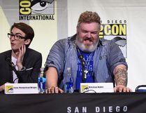 "SAN DIEGO, CA - JULY 22: Actors Isaac Hempstead Wright (L) and Kristian Nairn attend the ""Game Of Thrones"" panel during Comic-Con International 2016 at San Diego Convention Center on July 22, 2016 in San Diego, California. (Photo by Kevin Winter/Getty Images)"