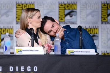 "SAN DIEGO, CA - JULY 23:  Actors Jennifer Morrison and Colin O'Donoghue attend the ""Once Upon A Time"" panel during Comic-Con International 2016 at San Diego Convention Center on July 23, 2016 in San Diego, California.  (Photo by Matt Winkelmeyer/Getty Images)"